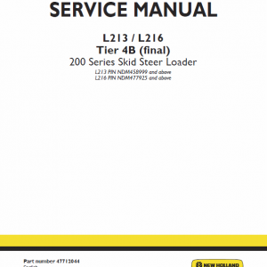 New Holland L213, L215, L216 Skidsteer Loader Service Manual