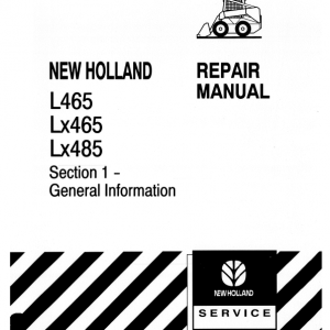 New Holland L465, Lx465, Lx485 Skidsteer Loader Service Manual