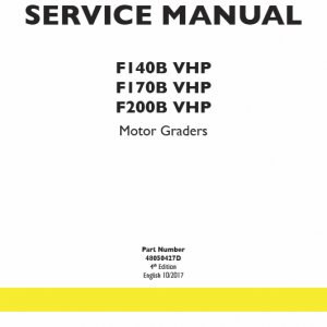 New Holland F140b Vhp, F170b Vhp, F200b Vhp Motor Graders Manual