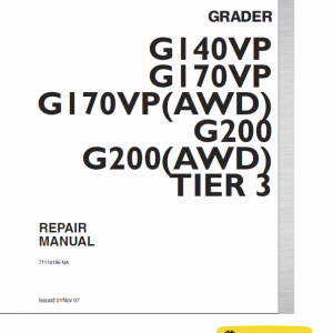 New Holland G170vp Awd, G200vp Awb Motor Grader Repair Manual