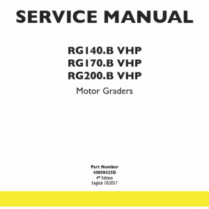 New Holland Rg140.b Vhp, Rg170.b Vhp, Rg200.b Vhp Motor Graders Manual