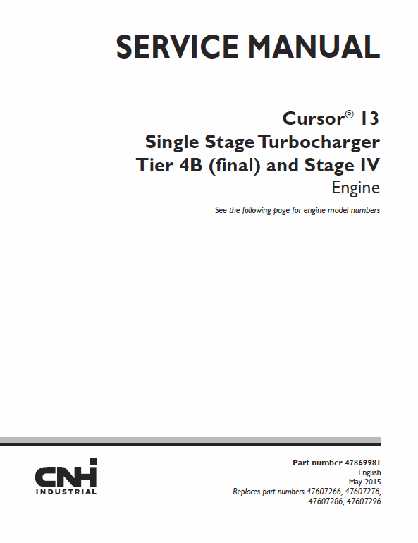 Cursor 13 Single Stage Turbocharger Tier 4b And Stage Iv Engine Service Manual