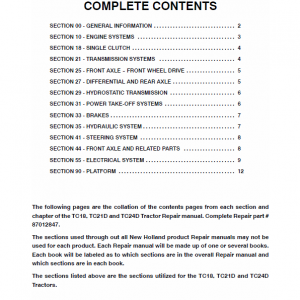 New Holland Tc18, Tc18d, Tc21d, Td24d Tractor Service Manual