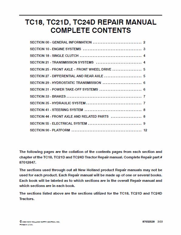 New Holland Tc18, Tc18d, Tc21d, Td24d Tractor Service Manual