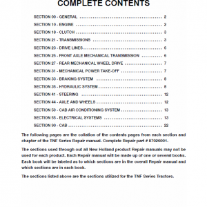 New Holland Tn65f, Tn70f, Tn75f Tractor Service Manual