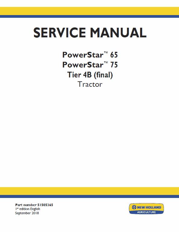New Holland Powerstar 65, 75 Tractor Service Manual