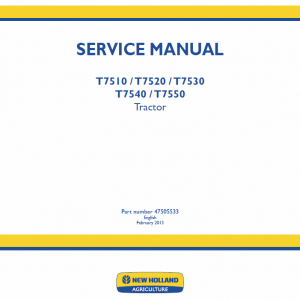 New Holland T7510, T7520, T7530, T7540, T7550 Tractor Service Manual