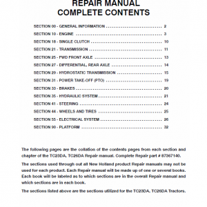 New Holland Tc23da, Tc26da Tractor Service Manual