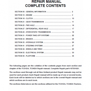 New Holland Tc31da, Tc34da Tractor Service Manual