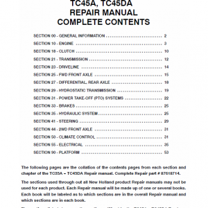 New Holland Tc40da, Tc45a, Tc45da Tractor Service Manual