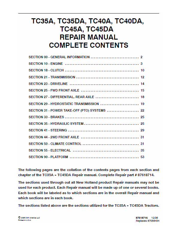 New Holland Tc40da, Tc45a, Tc45da Tractor Service Manual