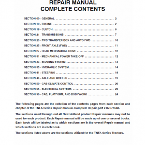 New Holland Tn75fa, Tn85fa, Tn95fa Tractor Service Manual