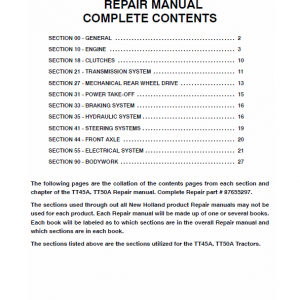 New Holland Tt45a, Tt50a Tractor Service Manual