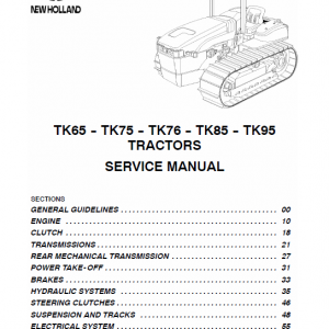 New Holland Tk65, Tk75, Tk76, Tk85, Tk95 Tractor Service Manual