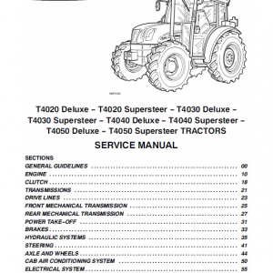 New Holland T4020, T4030, T4040, T4050 Delux Supersteer Tractor Manual