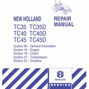 New Holland Tc31, Tc35, Tc40, Tc45 Tractor Service Manual