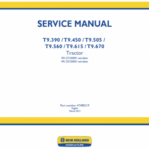 New Holland T9.390, T9.450, T9.505 Tractor Service Manual