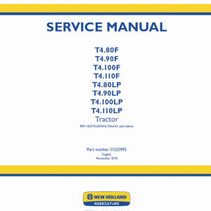 New Holland T4.80lp, T4.90lp, T4.100lp, T4.110lp Tractor Service Manual