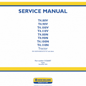 New Holland T4.80v, T4.90v, T4.100v, T4.110v Tractor Service Manual