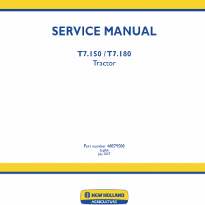 New Holland T7.140, T7.150, T7.165, T7.180 Tractor Service Manual