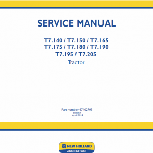 New Holland T7.195, T7.205 Tractor Service Manual