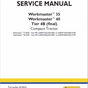 New Holland Workmaster 35 And 40 Tractor Service Manual