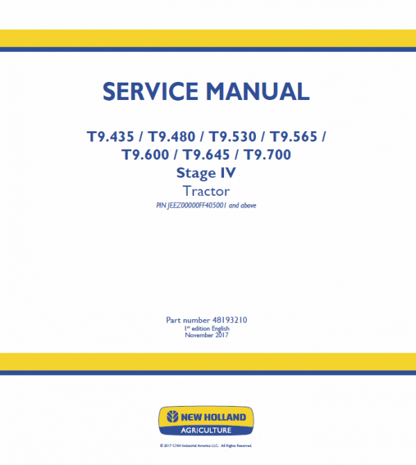 New Holland T9.600, T9.645, T9.700 Tractor Service Manual