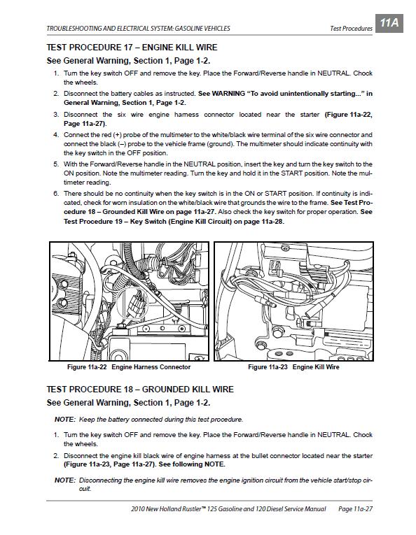 New Holland 120, 125 Rustler Service Manual