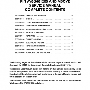 New Holland H8040 Self-Propelled Windrowers Service Manual