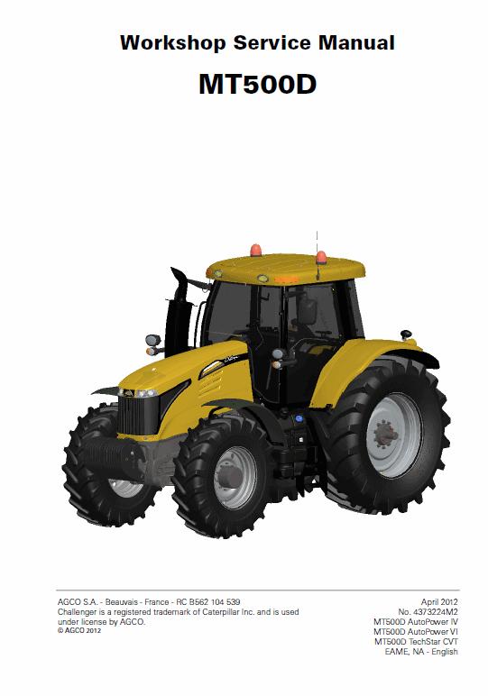 Challenger MT515D, MT525D, MT535D, MT545D Tractor Workshop Manual