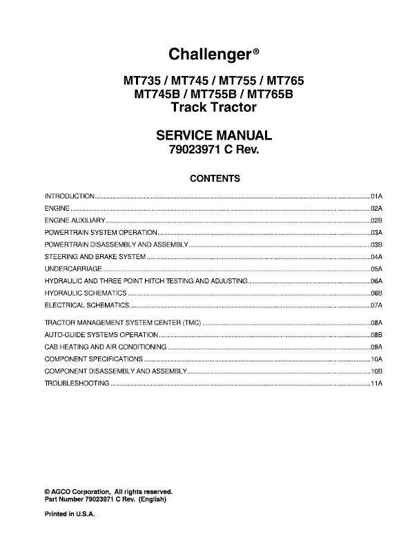 Challenger MT735, MT745, MT755, MT765 Tractor Service Manual