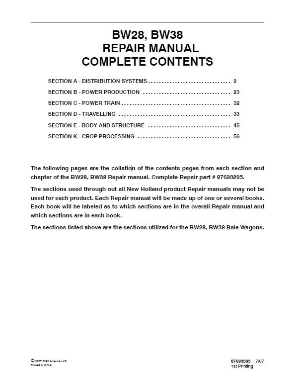 New Holland BW28, BW38 Bale Wagon Manual