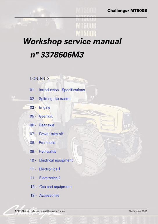 Challenger MT565B, MT575B, MT585B, MT595B Tractor Workshop Manual