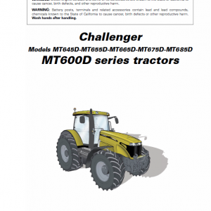 Challenger MT645D, MT655D, MT665D, MT675D, MT685D Tractor Workshop Manual