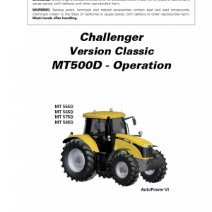 Challenger MT555D, MT565D, MT575D, MT585D, MT595D Tractor Workshop Manual