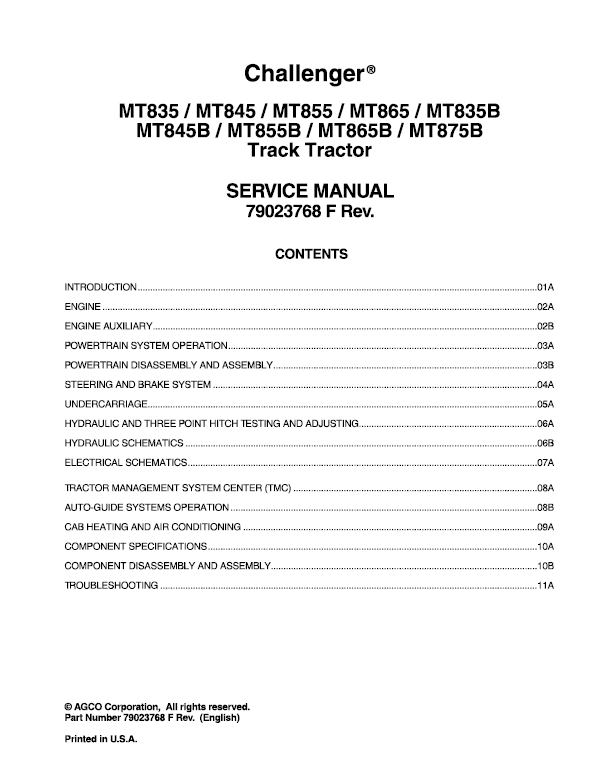 Challenger MT835, MT845, MT855, MT865 Tractor Service Manual