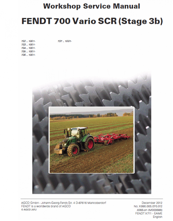 Fendt 714, 716, 718, 720, 722, 724 Stage 3B Tier 4i Tractor Service Manual