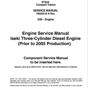 AGCO ST22A Compact Tractor Service Manual