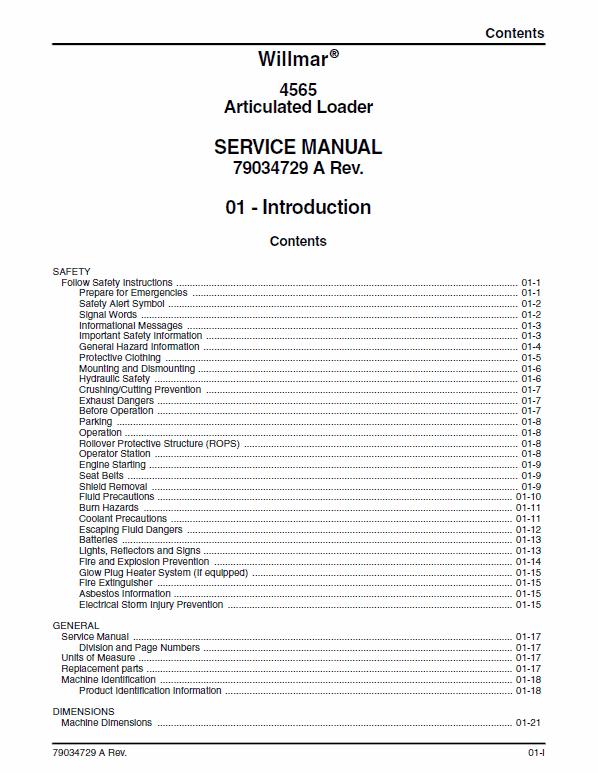 Willmar 4565 Wrangler Loader Service Manual