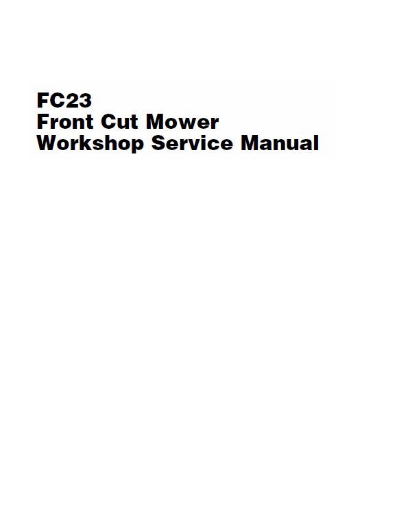 Massey Ferguson FC23 Front Mower Service Manual