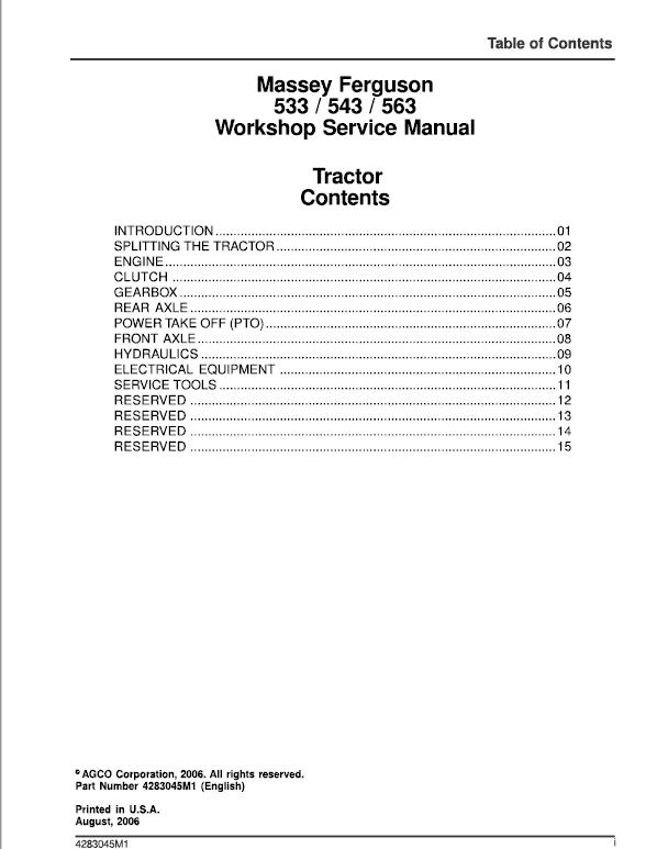 Massey Ferguson 533, 543, 563 Tractor Service Manual