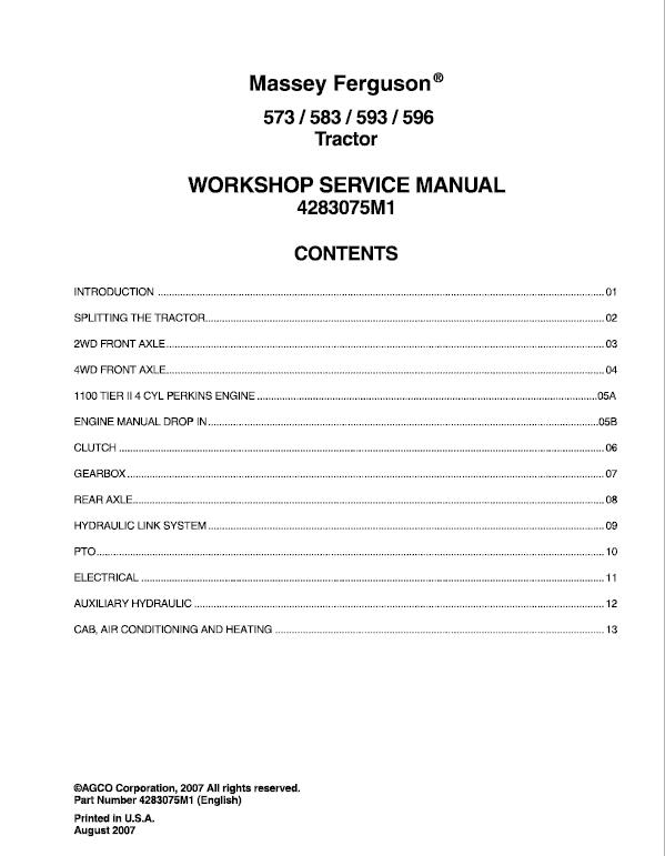 Massey Ferguson 573, 583, 593, 596 Tractor Service Manual