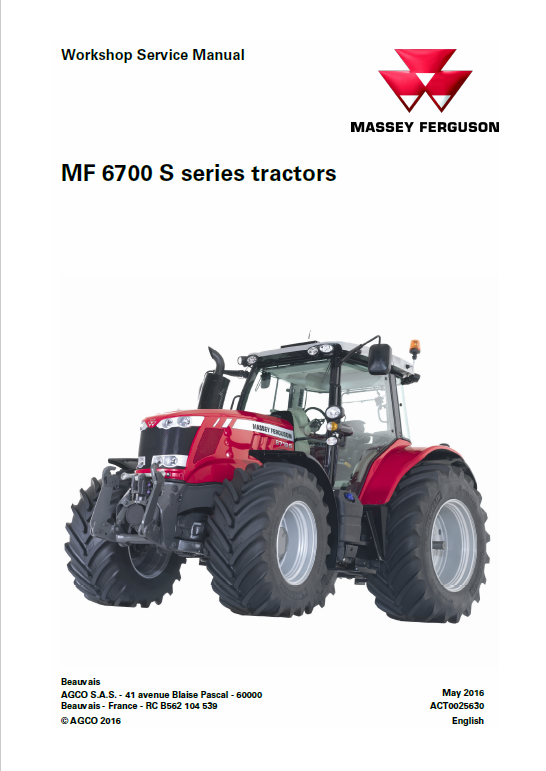 Massey Ferguson 6715S, 6716S, 6718S Tractor Service Manual
