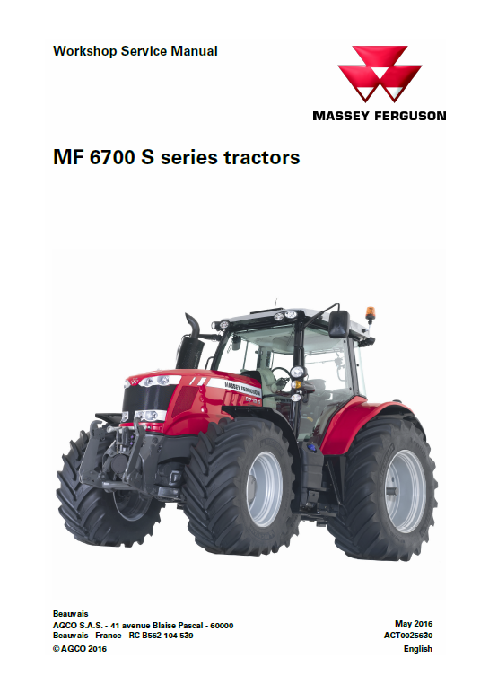 Massey Ferguson 6712S, 6713S, 6714S Tractor Service Manual