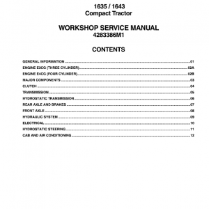 Massey Ferguson 1635, 1643 Compact Tractor Manual