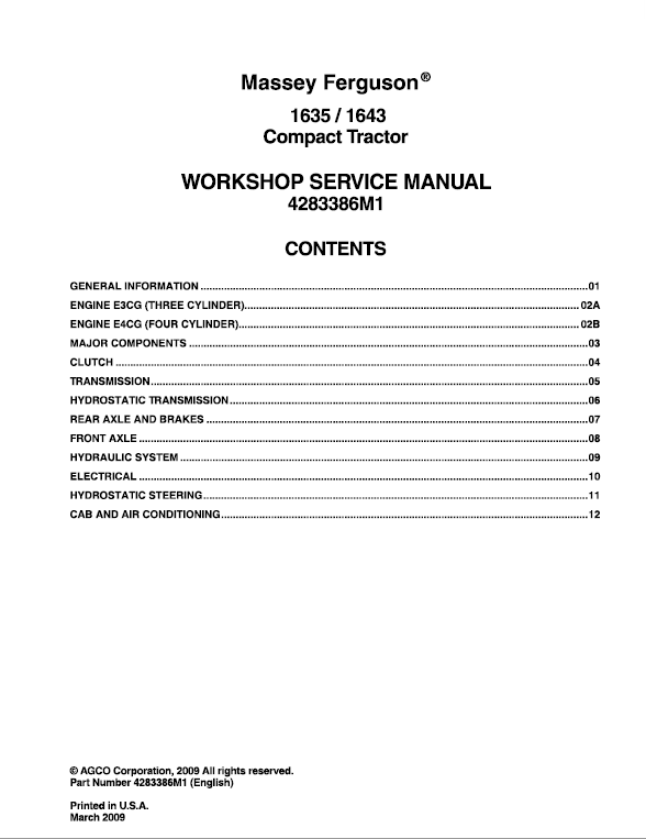 Massey Ferguson 1635, 1643 Compact Tractor Manual