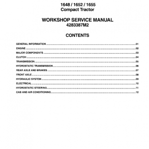 Massey Ferguson 1648, 1652, 1655 Compact Tractor Manual