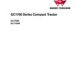 Massey Ferguson GC1723E, GC1725M Tractor Service Manual
