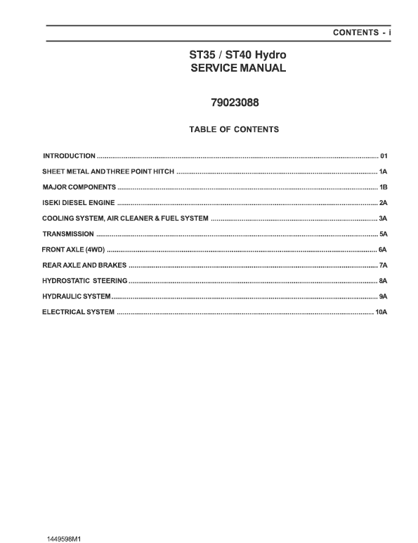 AGCO ST35, ST40 Tractor Service Manual