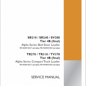 Case TR270, TR310, TV370 Track Loader Service Manual